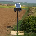 Complete, portable solar-powered system including Master Unit, Slave Unit, adjustable angle solar panel, rechargeable solar-powered battery, 2m pole and mountings with 1m square base. Requires pavings slabs or similar for installation stability